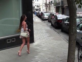 Julie Skyhigh Belgian Slut Exhibitionist Slut Shows Her Pussy In The Street