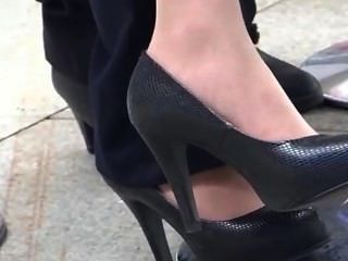 Candid Asian Feet In Black Pumps And Nylons Late Shoeplay