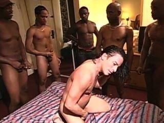 White Cracka Ho Gets Slammed By A Room Of Thugs