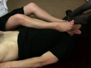 Feet sniffing and handjob femdom