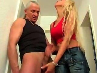 Blonde In Jeans Cum Denial